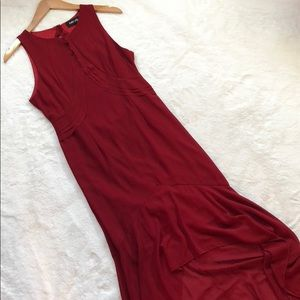 Elegant FAB' RIK red hi-low open back maxi❤️